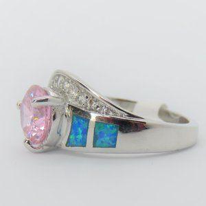 925 Silver Pink Round Tourmaline Blue Fire Opal
